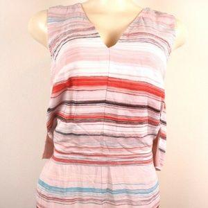 1. State Womens Romper Pink Blue Striped V Neck